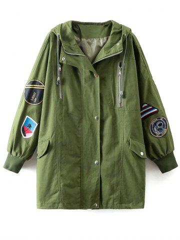 Discount Hooded Sequins Patch Design Trench Coat