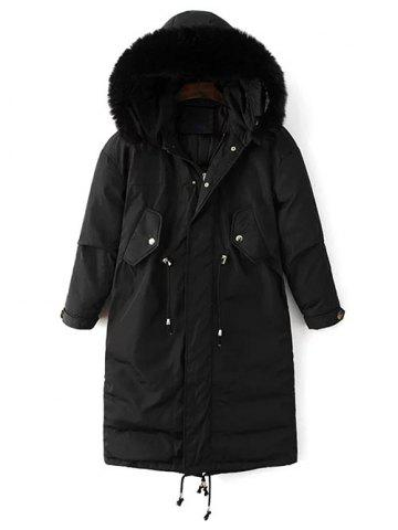 Fancy Hooded Zip-Up Drawstring Parka Puffer Coat