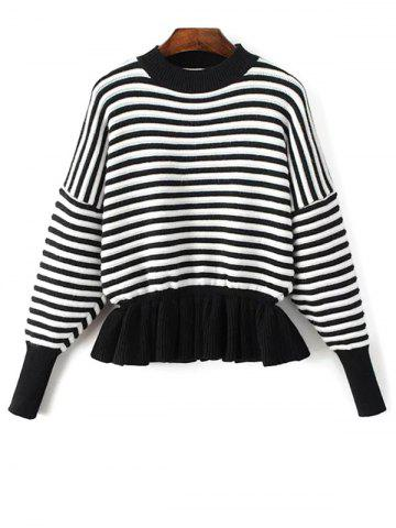 Cheap Mock Neck Striped Flounced Sweater