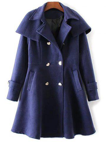 Online Double Breasted Skirted Coat With Cape