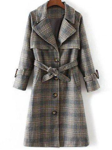 Hot Checked Belted Single Breasted Coat