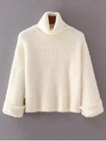 Shop Turtleneck Fuzzy Loose Sweater