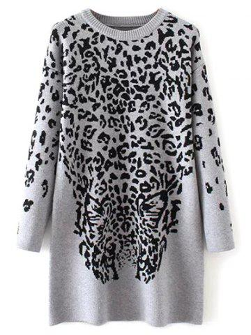 New Leopard Graphic Long Sweater
