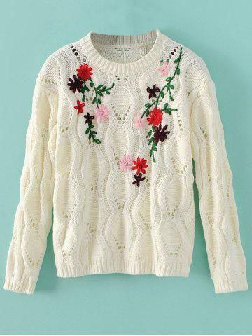 Shop Cut Out Floral Vintage Sweater WHITE ONE SIZE