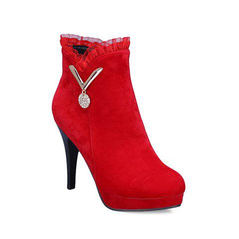 Shop Metal Ruffles Paltform Ankle Boots RED 39