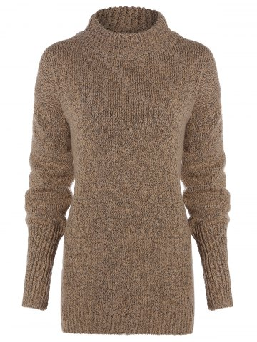 Long Sleeve Mock Neck Pullover Sweater - Beige - One Size