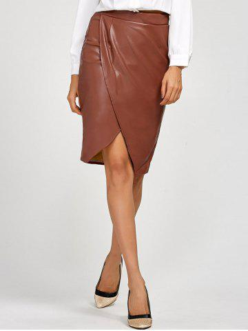 Best Slit Faux Leather Tulip Skirt DARK AUBURN L
