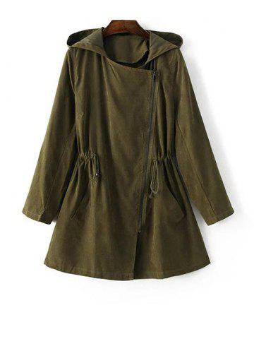 Cheap Hooded Drawstring Suede Anorak Coat