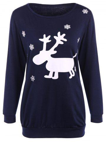 Outfit Fawn Patterned Christmas Tee PURPLISH BLUE XL