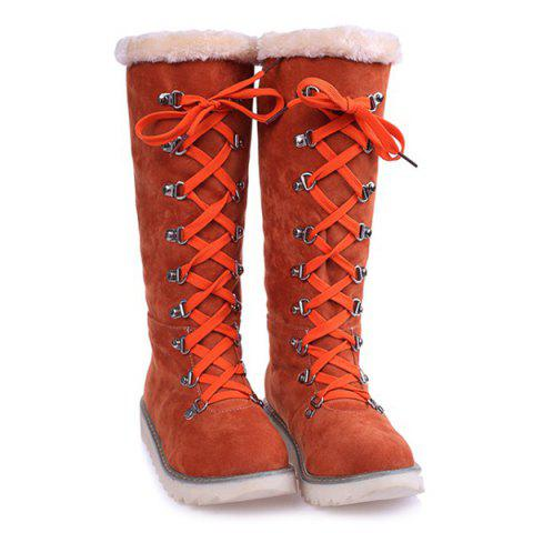 Lace Up Bottes en daim mi-mollet Tangerine 37