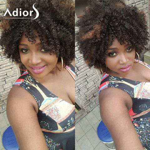 Adiors Hair Short Mixed Color Afro Curly Side Bang Synthetic Wig - Colormix