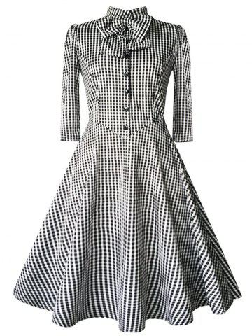 Fashion Checked Bow Sweet Heart Neck Swing Dress