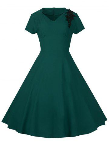 Hot Lace Embroidered Insert 1940S Cocktail Swing Dress