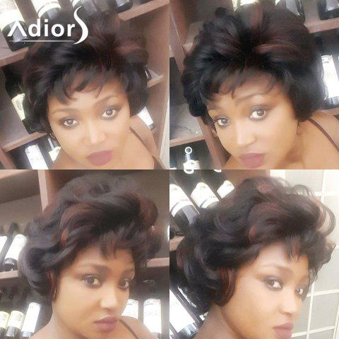 Chic Adiors Short Highlight Oblique Bang Shaggy Curly Synthetic Wig COLORMIX