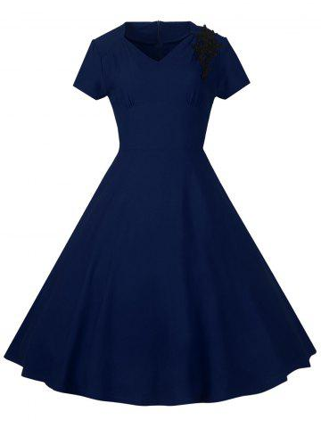 Lace Embroidered Insert 1940S Cocktail Swing Dress - Purplish Blue - S