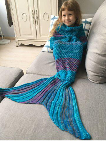 Fashion Winter Thicken Lengthen Color Block Sleeping Bag Wrap Kids Mermaid Blanket - BLUE + PURPLE  Mobile