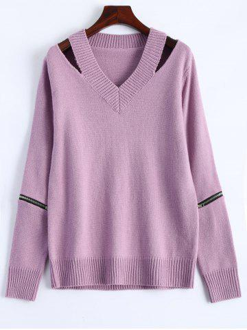 V Neck Zipper Sweater