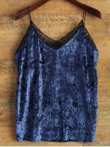 Shops Cami Lace Spliced Loose Tank Top BLUE ONE SIZE