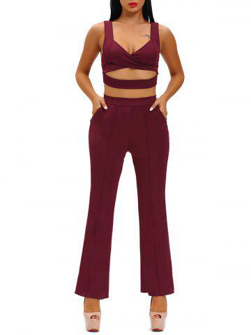 Outfit Hollow Out Crop Top With High Waist Wide Leg Pants WINE RED L