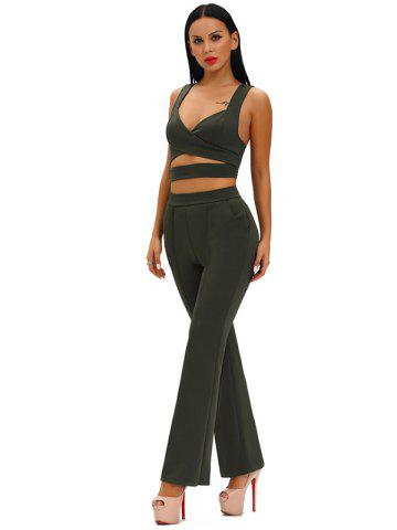 Hollow Out Crop Top With High Waist Wide Leg Pants - Army Green - M