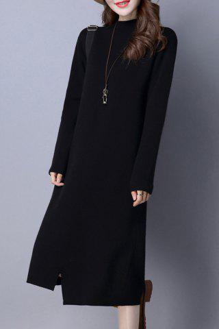 Mock Neck Shift Sweater Dress