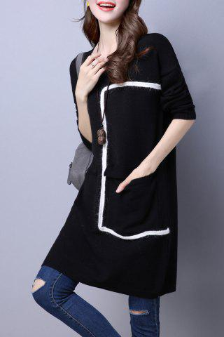 Round Neck Pocket lâche Sweater Dress Noir M