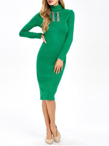 Knitted Ribbed Bodycon Polo Neck Jumper Dress - Green - S