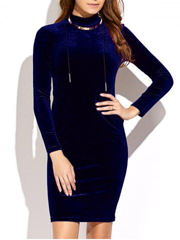 Trendy Long Sleeve High Neck Mini Velvet Dress PURPLISH BLUE ONE SIZE