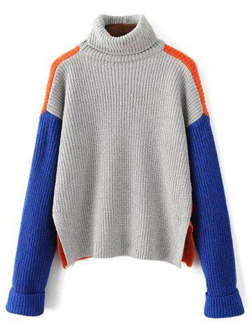Store Loose Turtleneck Color Block Chunky Sweater JACINTH ONE SIZE