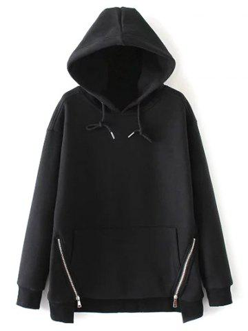 Shop Zippered String Loose Hoodie - M BLACK Mobile
