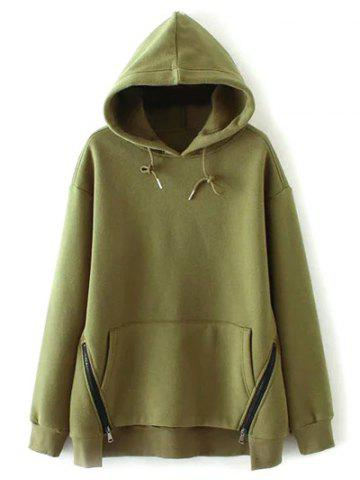 Hot Zippered String Loose Hoodie - L ARMY GREEN Mobile