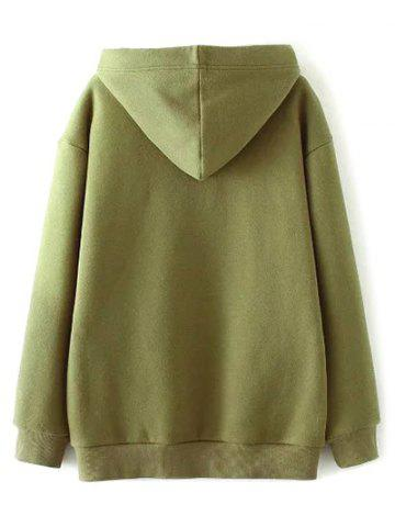 Fashion Zippered String Loose Hoodie - L ARMY GREEN Mobile