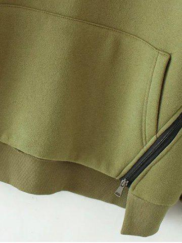 Fancy Zippered String Loose Hoodie - L ARMY GREEN Mobile