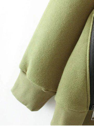 Outfits Zippered String Loose Hoodie - L ARMY GREEN Mobile