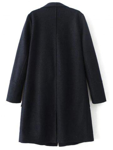 Fancy Wool Blend Turndown Collar Coat - L CADETBLUE Mobile