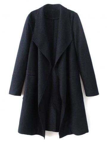 Sale Wool Blend Turndown Collar Coat - L CADETBLUE Mobile