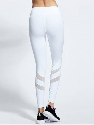 Trendy High Waist Mesh Insert Yoga Running Leggings - L WHITE Mobile