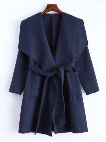 Outfit Woolen Long Wrap Coat With Pockets DEEP BLUE XL
