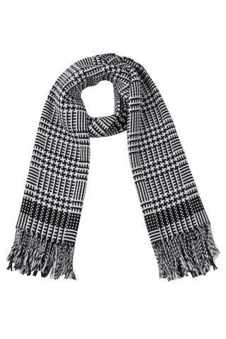 Winter Tassel Houndstooth Cashmere Scarf - Black - One Size