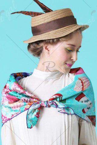 Affordable Christmas Canada Map Squirrel Square Scarf - CYAN  Mobile