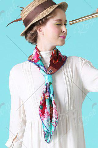 Latest Christmas Canada Map Squirrel Square Scarf - CYAN  Mobile