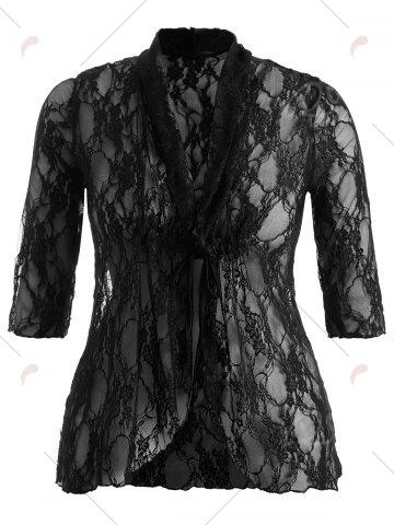 Outfits Plus Size Drawstring Asymmetric Lace Jacket - 5XL BLACK Mobile
