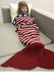 Winter American Flag Design Knitted Wrap Mermaid Blanket