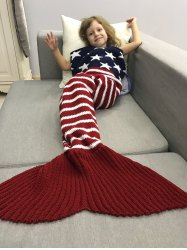 American Flag Design Knitted Wrap Mermaid Blanket