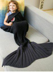 Thicken Stripe Sleeping Bag Wrap Mermaid Blanket For Kids - BLACK