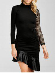 Mesh Sheer Asymmetric Mermaid Dress -