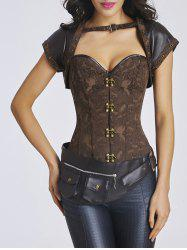 Leather Insert Jacquard Steel Boned Three Piece Corset