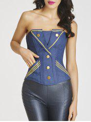 Denim Embroidered Trim Steel Boned Corset