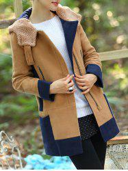 Color Block Hooded Long Coat
