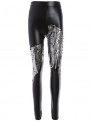 Skinny Sequins Wings Fleece Faux Leather Pants - SILVER 2XL